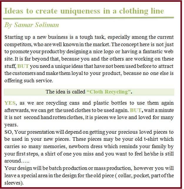 Bài tham dự cuộc thi #4 cho Ideas to create uniqueness in a clothing line