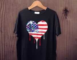 "#118 untuk T-Shirt Design ""US Flag with Bleeding Hearts - Brushed Painted"" oleh AllyHelmyy"