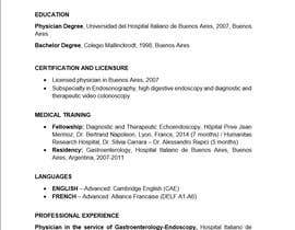 #15 cho Curriculum Vitae - Medical Doctor: Translation From Spanish to English and format bởi danniellav