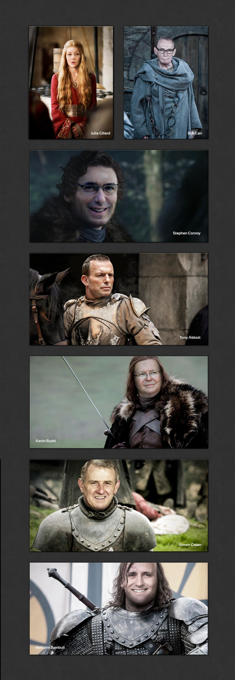 #128 for Photoshop Aussie Politicians into Game of Thrones Mashup by softechnos5