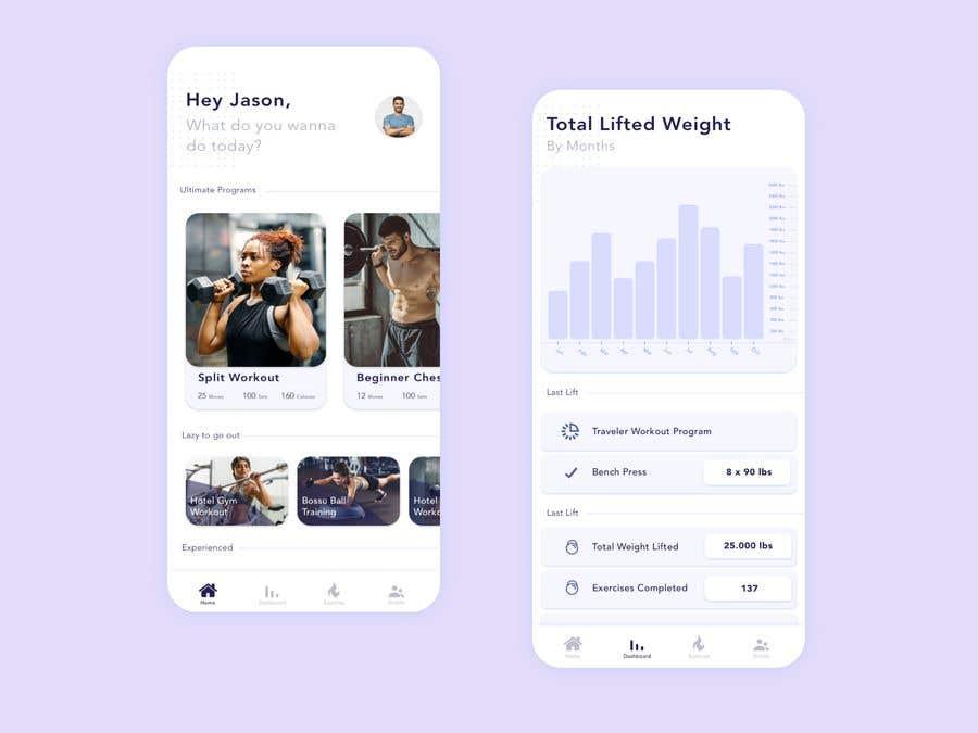 Kilpailutyö #20 kilpailussa UX UI design for gym members / Fitness app