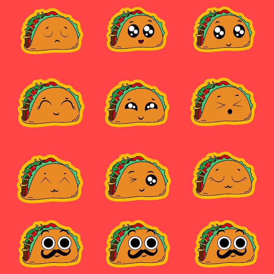 Kilpailutyö #30 kilpailussa Design a unique transparent taco sticker for a label