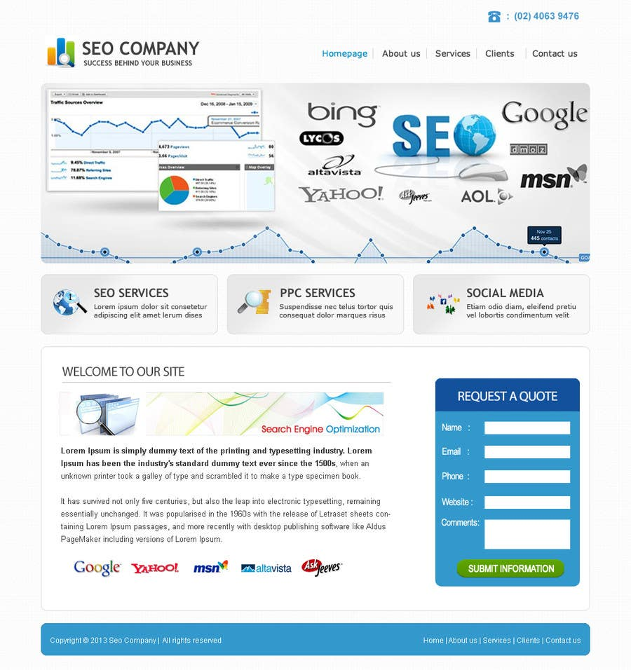 Contest Entry #                                        9                                      for                                         Wordpress Theme Design for Seo Company