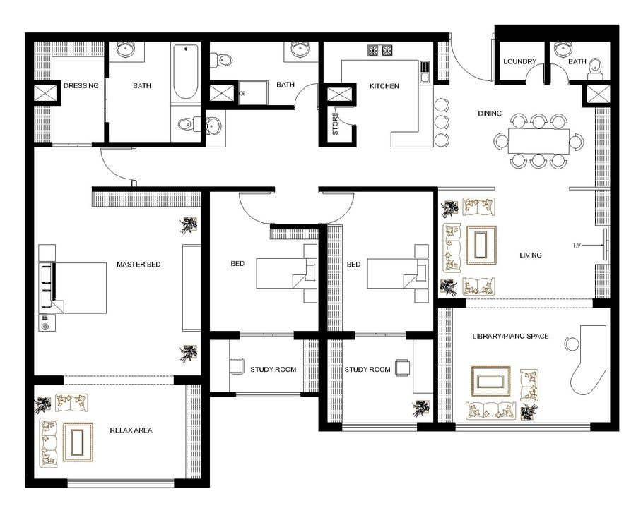 Kilpailutyö #105 kilpailussa 144sqm Apartment