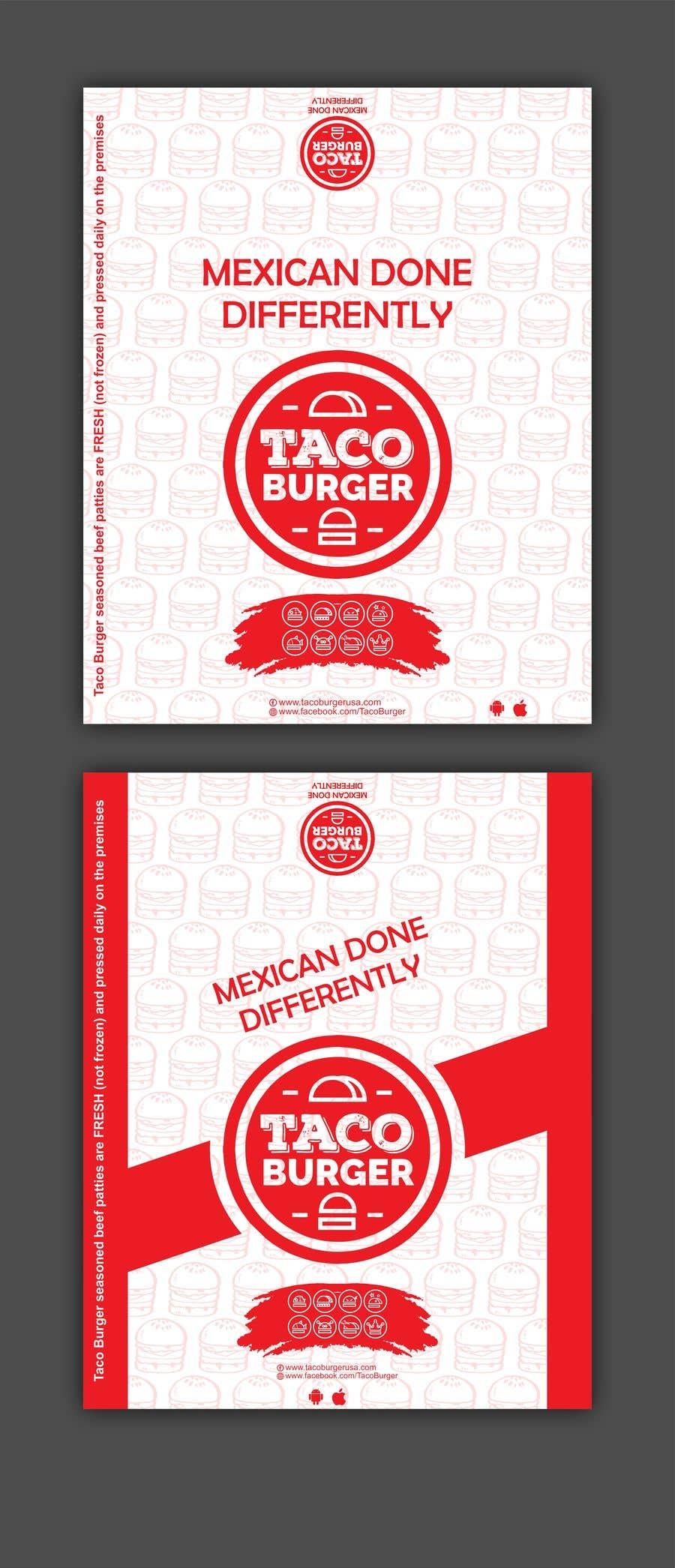 Kilpailutyö #36 kilpailussa Taco Burger Wrapper Design