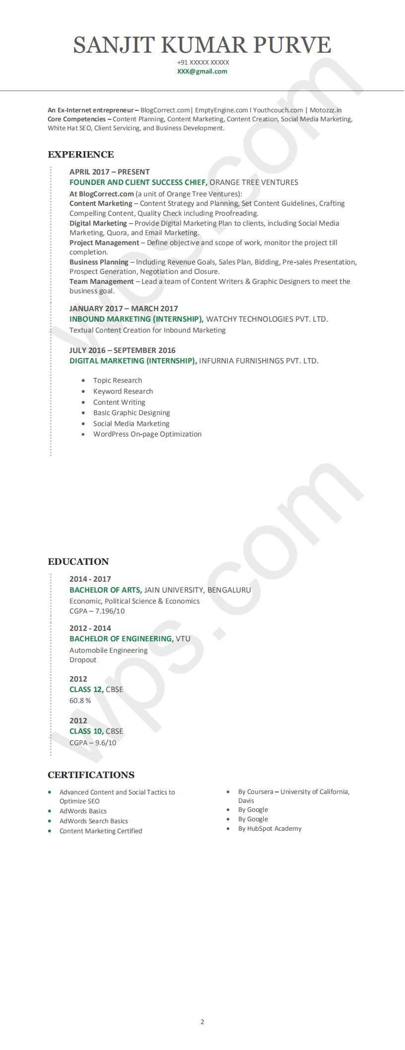 Konkurrenceindlæg #6 for Design me Resume - Two Variants