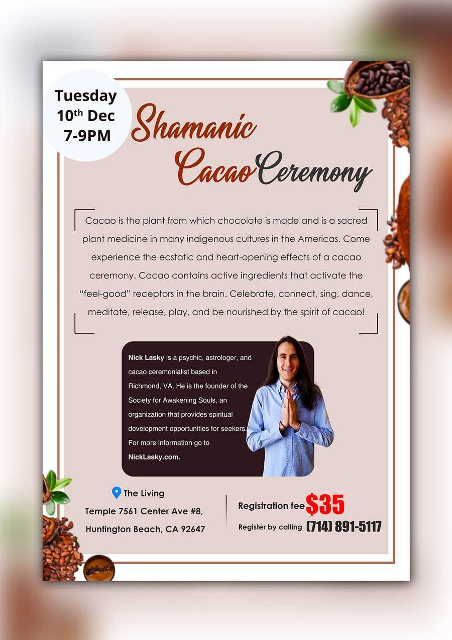 "Intrarea #3 pentru concursul ""Flyer for Cacao Ceremony"""
