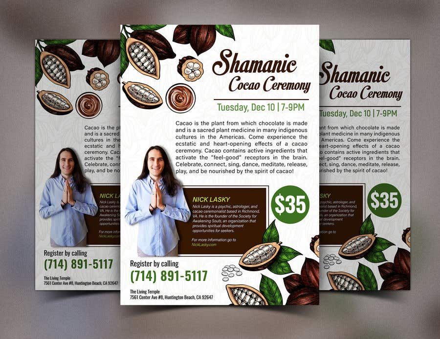 "Intrarea #                                        7                                      pentru concursul ""                                        Flyer for Cacao Ceremony                                     """