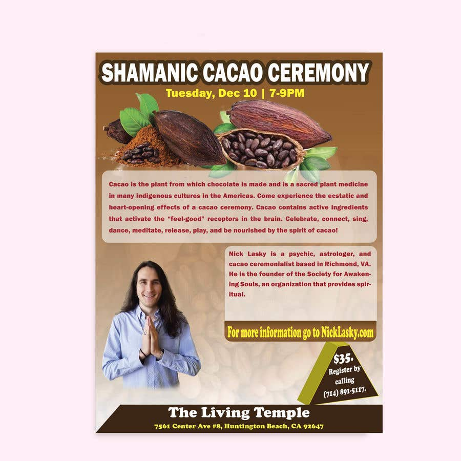 "Intrarea #24 pentru concursul ""Flyer for Cacao Ceremony"""