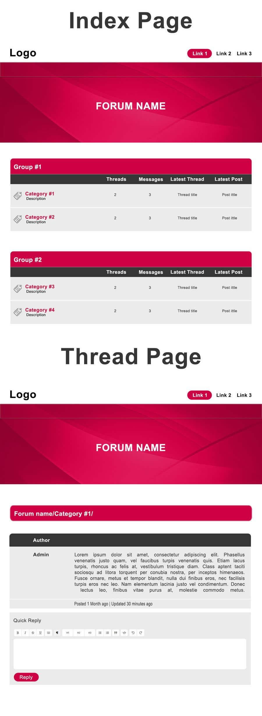 """Intrarea #11 pentru concursul """"Design layout for adult forum"""""""