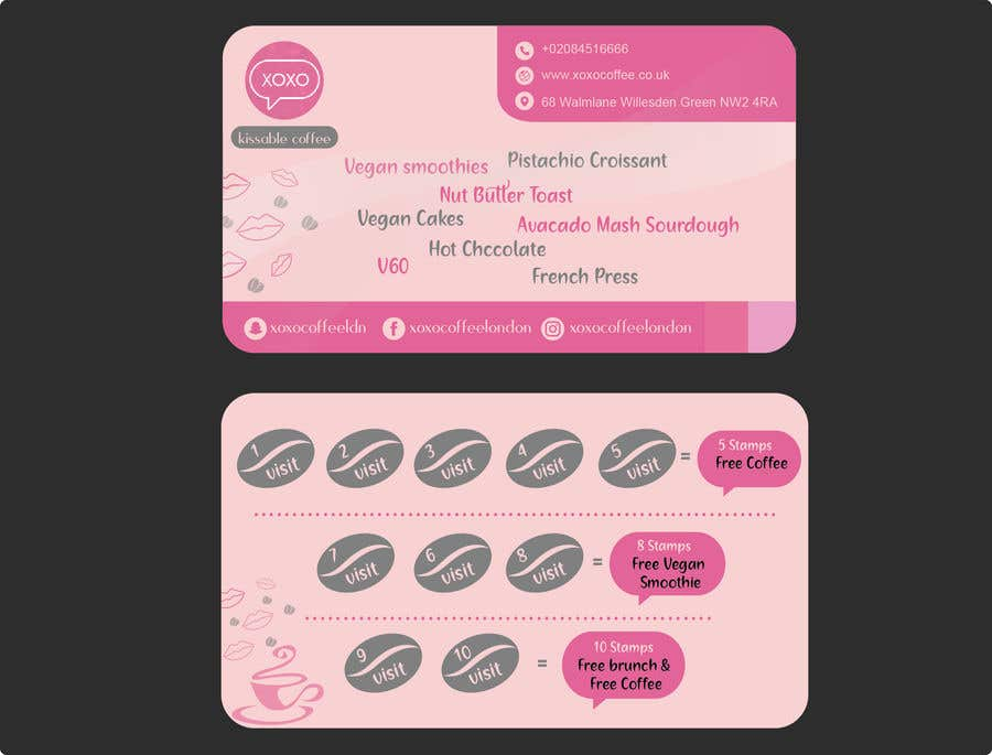 Конкурсная заявка №23 для Design  a loyalty card for coffee shop__ Must read  project details and check files before designing