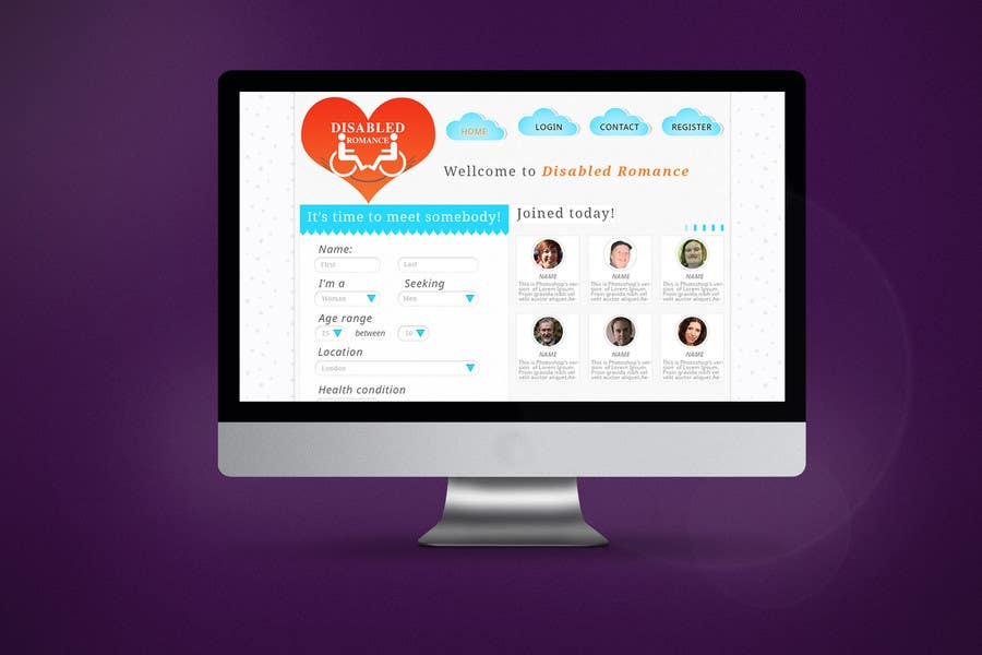 Kilpailutyö #                                        13                                      kilpailussa                                         Website Design for Dating website homepage