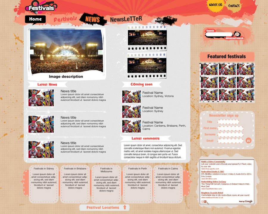 Natečajni vnos #                                        12                                      za                                         Website Design for eFestivals