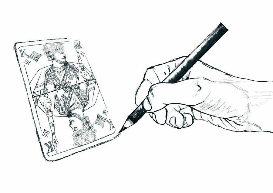 """Inscrição nº                                         7                                      do Concurso para                                         Illustration of  """"hand drawing a playing card"""""""