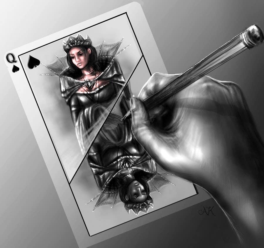 """Inscrição nº                                         10                                      do Concurso para                                         Illustration of  """"hand drawing a playing card"""""""