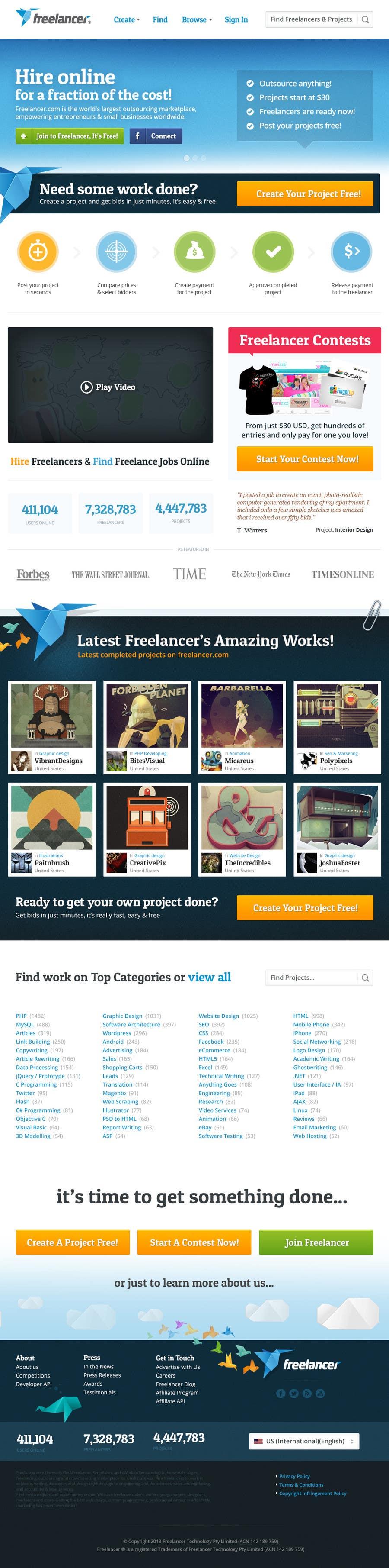 Contest Entry #253 for Freelancer.com contest! Design our Homepage!