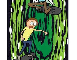 """#4 for I need a skateboard scene re draw a as if it was from Rick and morty   Some example reference images attached. And an example of a completed image  Image needs to be on a canvas that is 9x33"""" at 300dpi  Images not in that format will be rejected by okomta"""