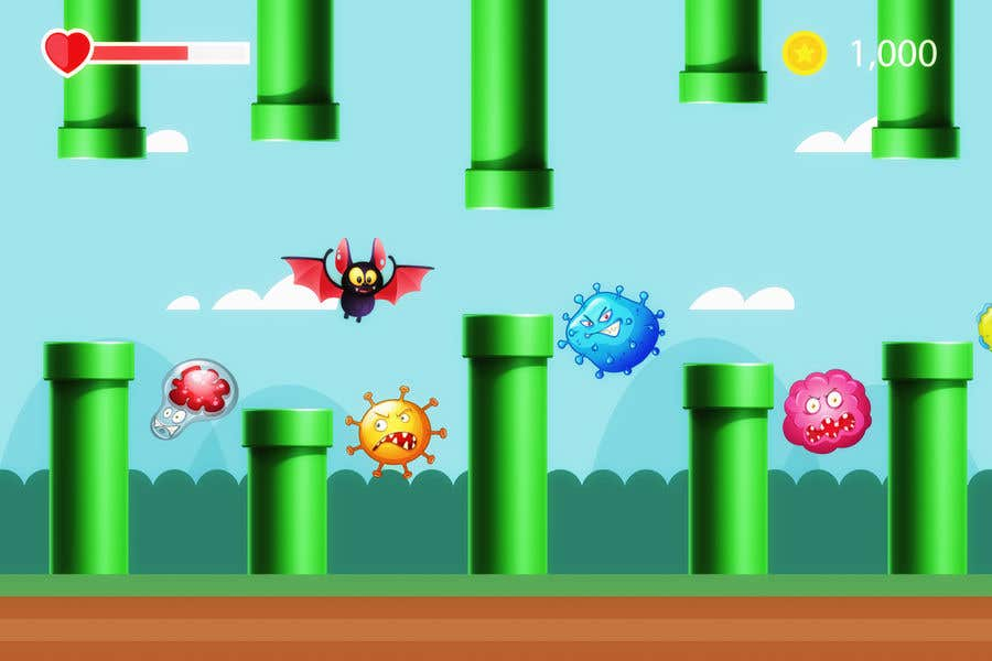 Contest Entry #                                        7                                      for                                         2D fly animation Batt + 2D die animation virus.