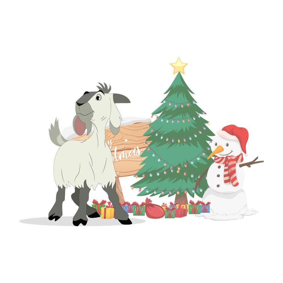 Bài tham dự cuộc thi #                                        10                                      cho                                         Cartoon goat eating christmas lights