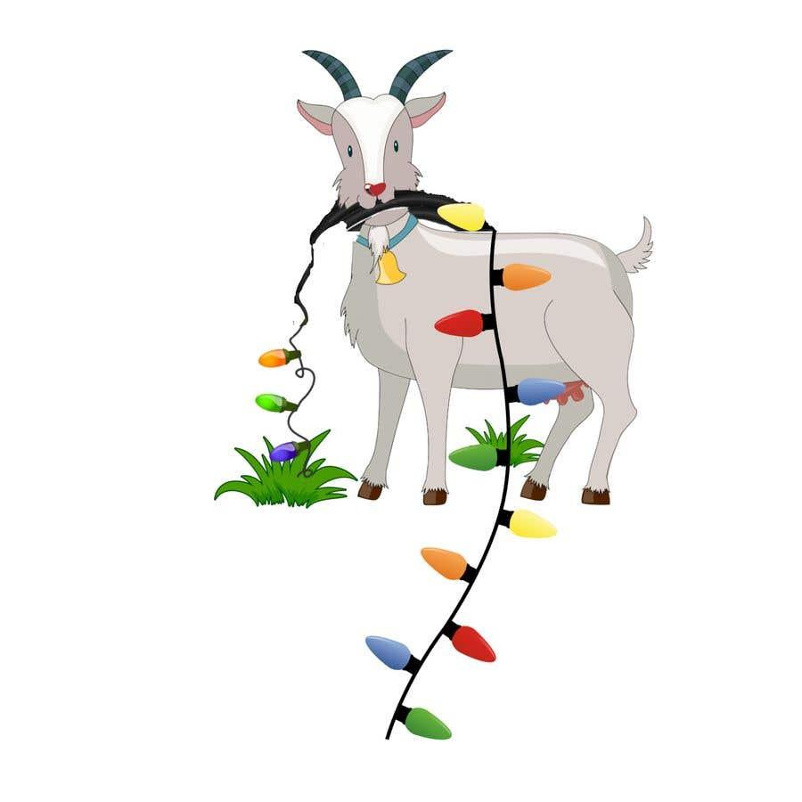 Bài tham dự cuộc thi #                                        14                                      cho                                         Cartoon goat eating christmas lights