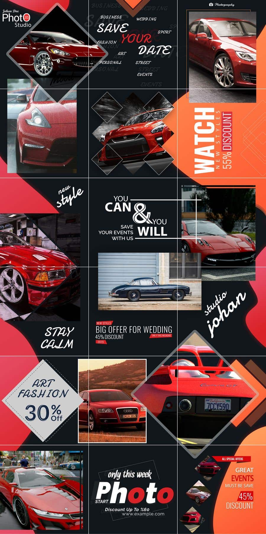 Contest Entry #                                        37                                      for                                         Design an Instagram puzzle template + brand kit for a Car Detailing business