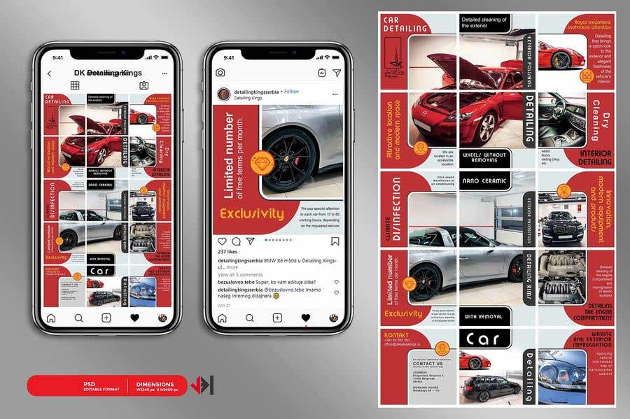 Contest Entry #                                        33                                      for                                         Design an Instagram puzzle template + brand kit for a Car Detailing business