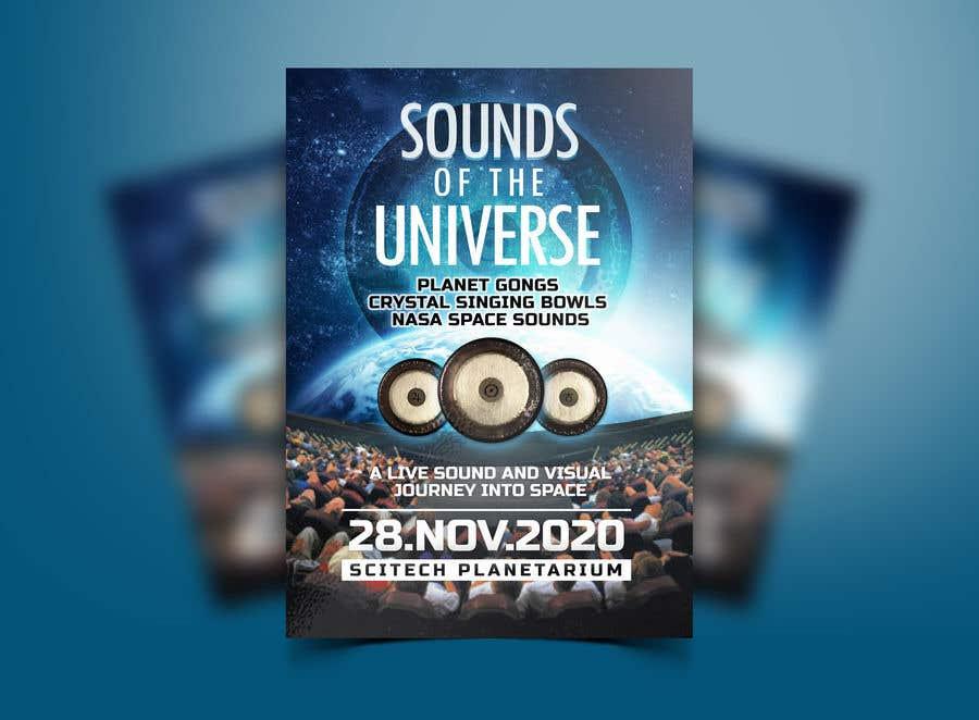 Kilpailutyö #                                        212                                      kilpailussa                                         Design an A3 poster for a live music event with space theme.