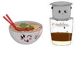 nº 5 pour 2 QUICK ILLUSTRATIONS: Cartoon Vietnamese Iced Coffee & Vietnamese Pho Bowl par Generatinx