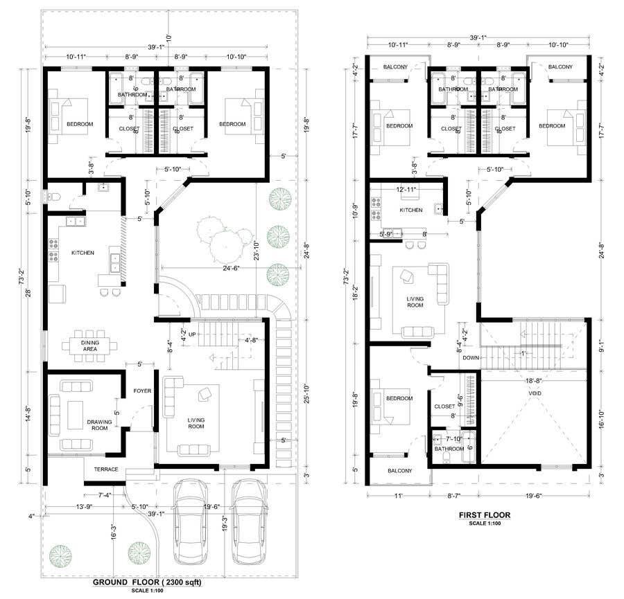Proposition n°                                        51                                      du concours                                         Build me 2D Floor Plan for 2 Floor house!