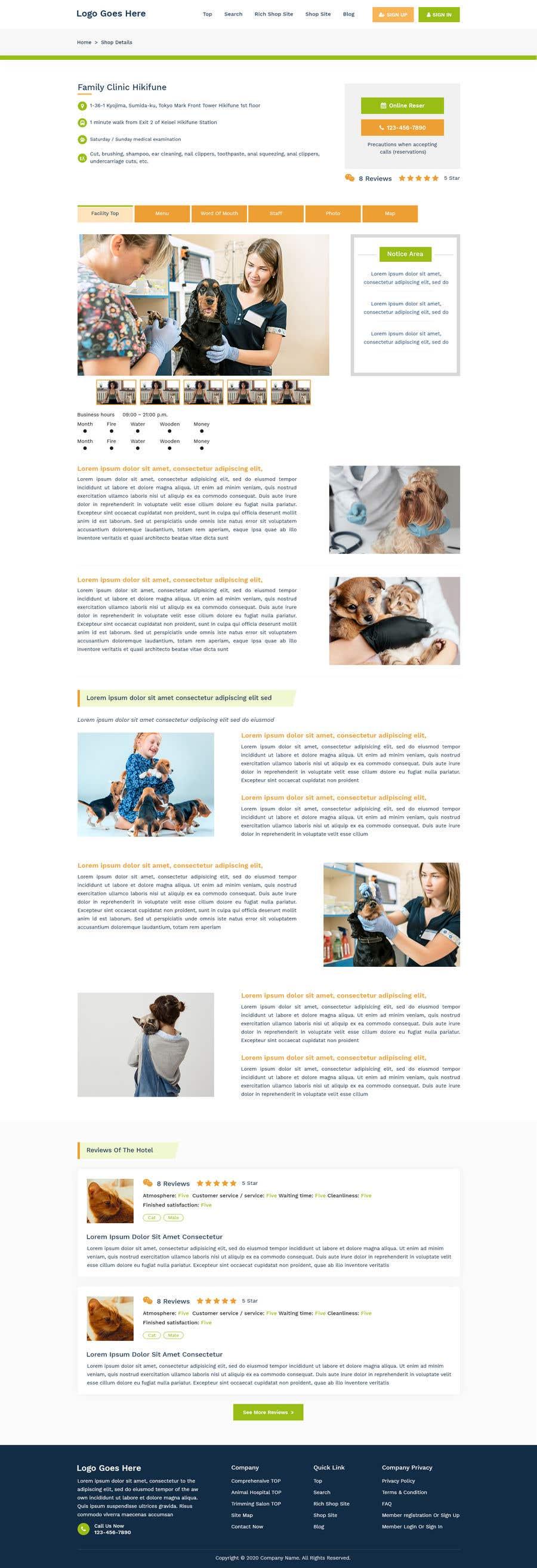 Kilpailutyö #                                        25                                      kilpailussa                                         Design and coding of Portal Site Of Veterinary shops (MUST be BOTH PC and SP of TOP/SEARCH/RICH Shop Site/ Shop Site /Blog etc...)