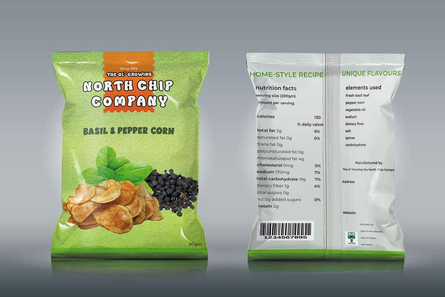 Kilpailutyö #                                        48                                      kilpailussa                                         Need a packet of chips designed. Front and back.