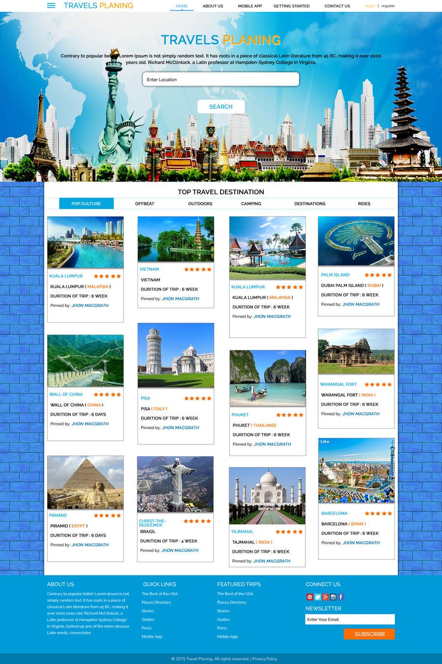 Entri Kontes #3 untukDesign for travel planning site (landing page and initial interaction)