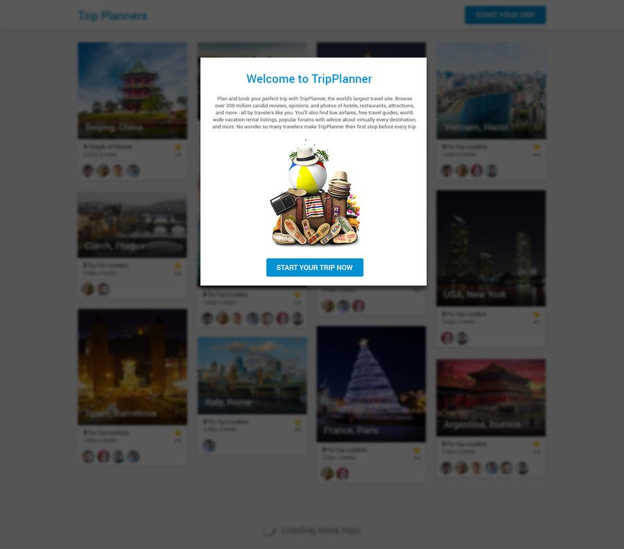 Entri Kontes #                                        23                                      untuk                                        Design for travel planning site (landing page and initial interaction)
