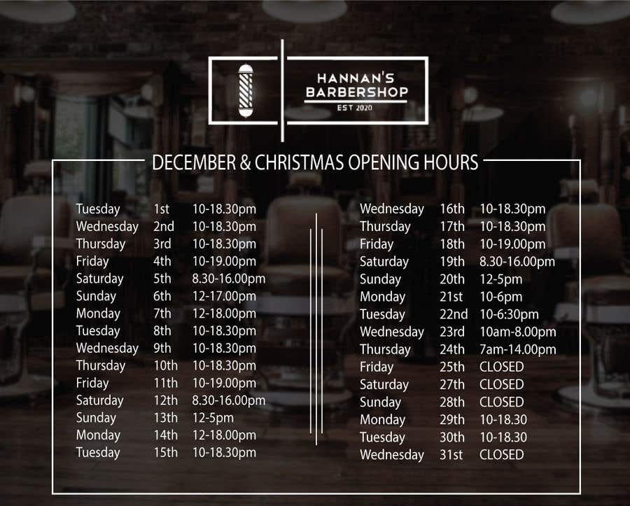 Contest Entry #                                        2                                      for                                         Christmas Opening Hours Graphic Barbershop Business
