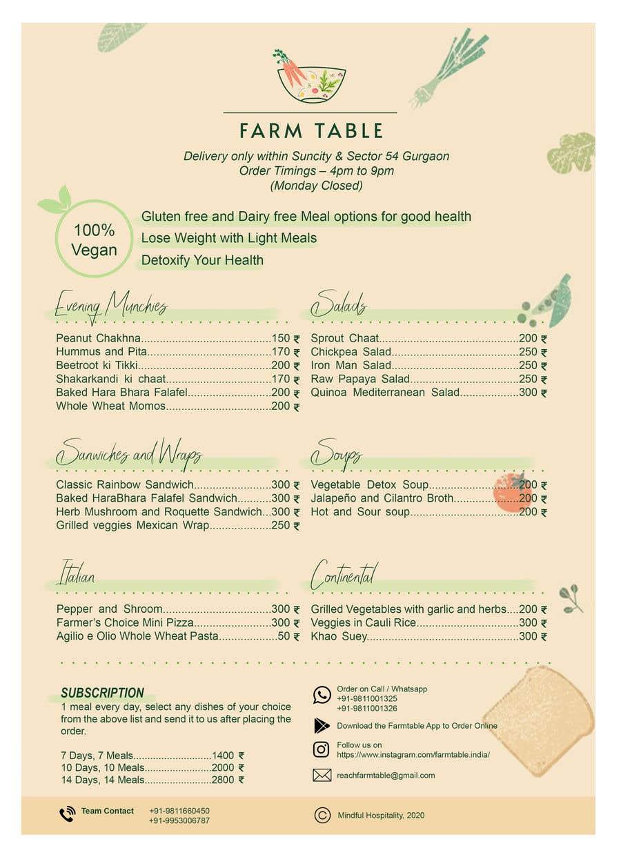 Kilpailutyö #                                        32                                      kilpailussa                                         Design a Health Food Menu Card for Farmtable Restaurant