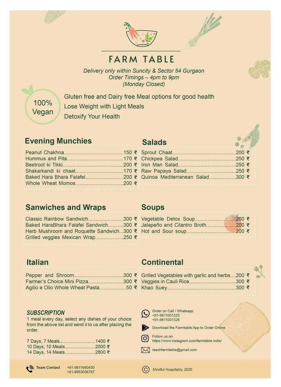 Kilpailutyö #                                        33                                      kilpailussa                                         Design a Health Food Menu Card for Farmtable Restaurant