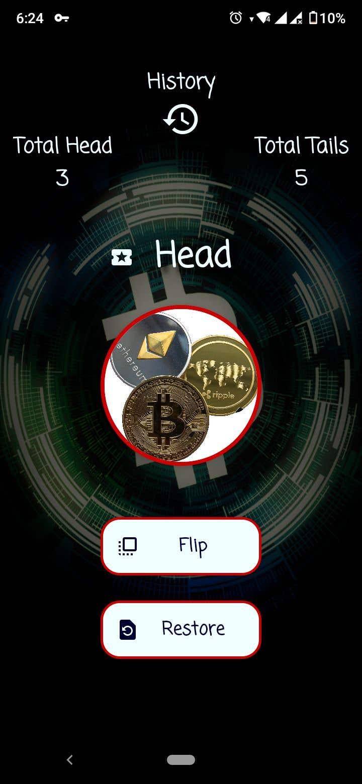 Penyertaan Peraduan #                                        21                                      untuk                                         Make me a cool coin flipping app for Android