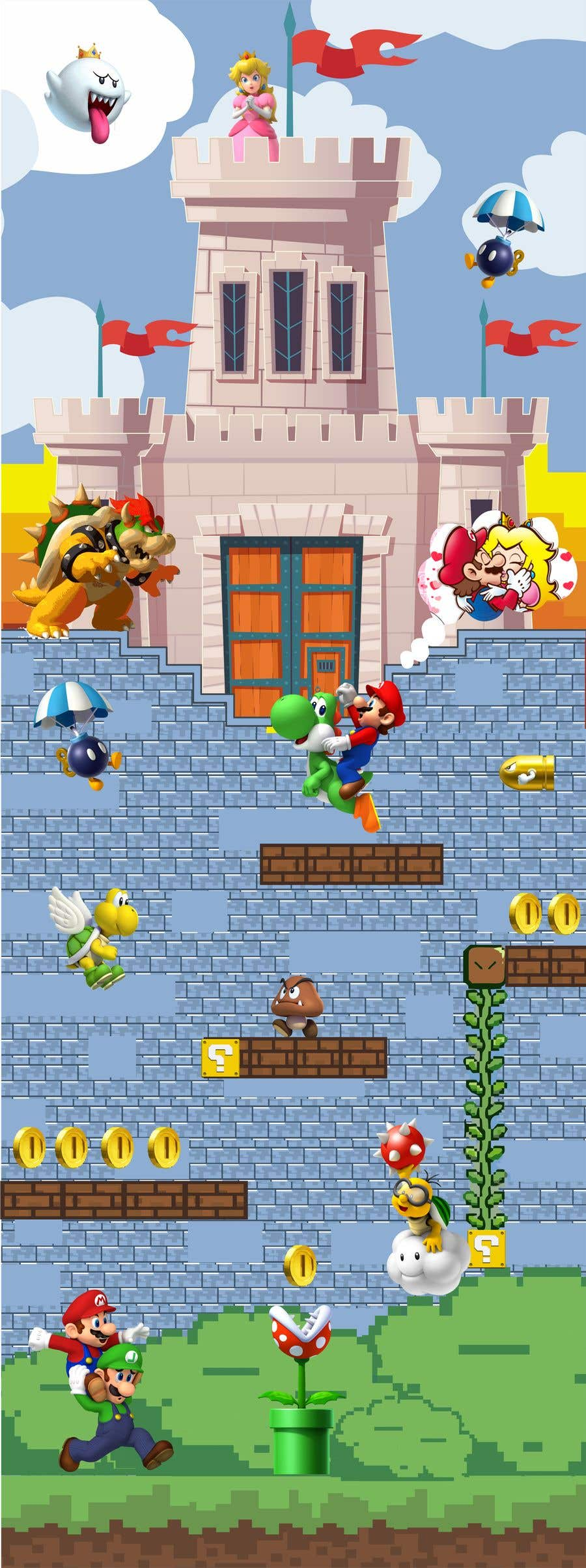 Penyertaan Peraduan #                                        13                                      untuk                                         Build a wall design for my house - Mario bross as an example