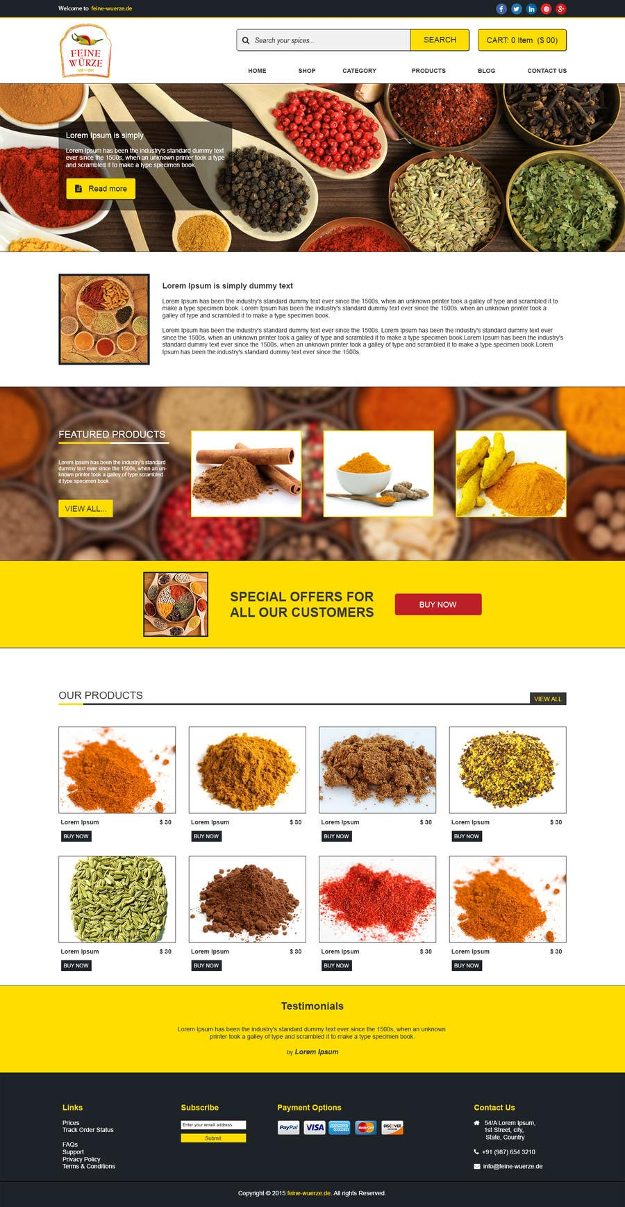 Contest Entry #                                        14                                      for                                         Design for a completely new online shop, selling spices -- 2