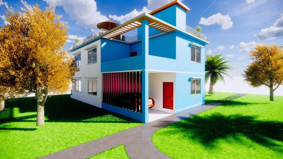 Bài tham dự cuộc thi #                                        9                                      cho                                         3D Modern Elevation of house and suggest any improvement in map