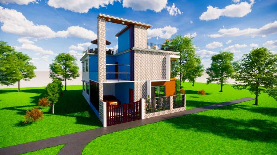 Bài tham dự cuộc thi #                                        14                                      cho                                         3D Modern Elevation of house and suggest any improvement in map