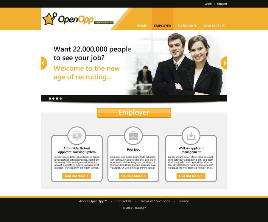 Website Design Contest Entry #4 for Website Design for OpenOpp.com - 2 pages only - Any format
