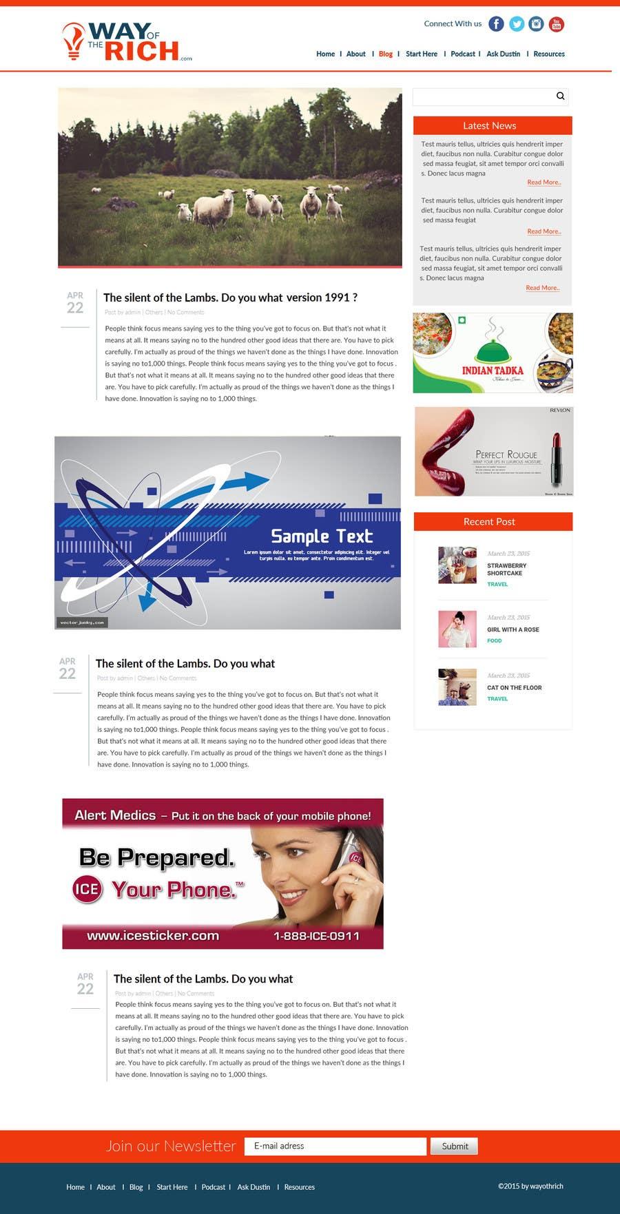 Kilpailutyö #31 kilpailussa Create and implement a Wordpress Template for a Blog/Podcast website