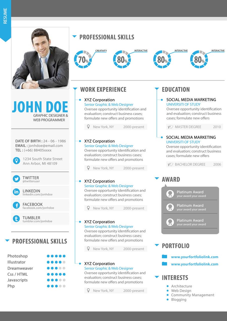Contest Entry #11 for Premium Quality Resume Design (PSD) - I'LL SELECT MULTIPLE WINNERS!