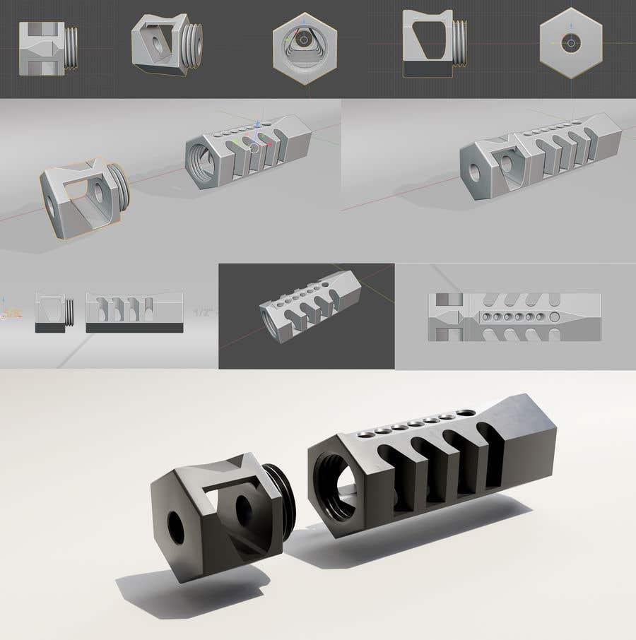 Bài tham dự cuộc thi #                                        74                                      cho                                         Design 3 unique and effective muzzle brakes