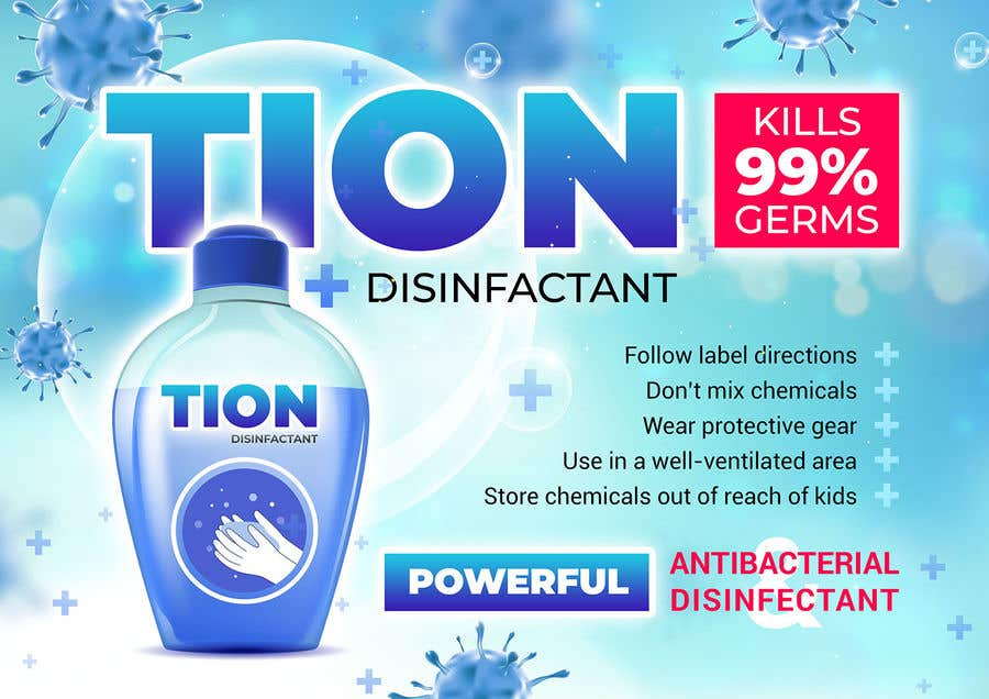 Proposition n°                                        16                                      du concours                                         Label  design with illustration for a disinfectant with nanoparticles