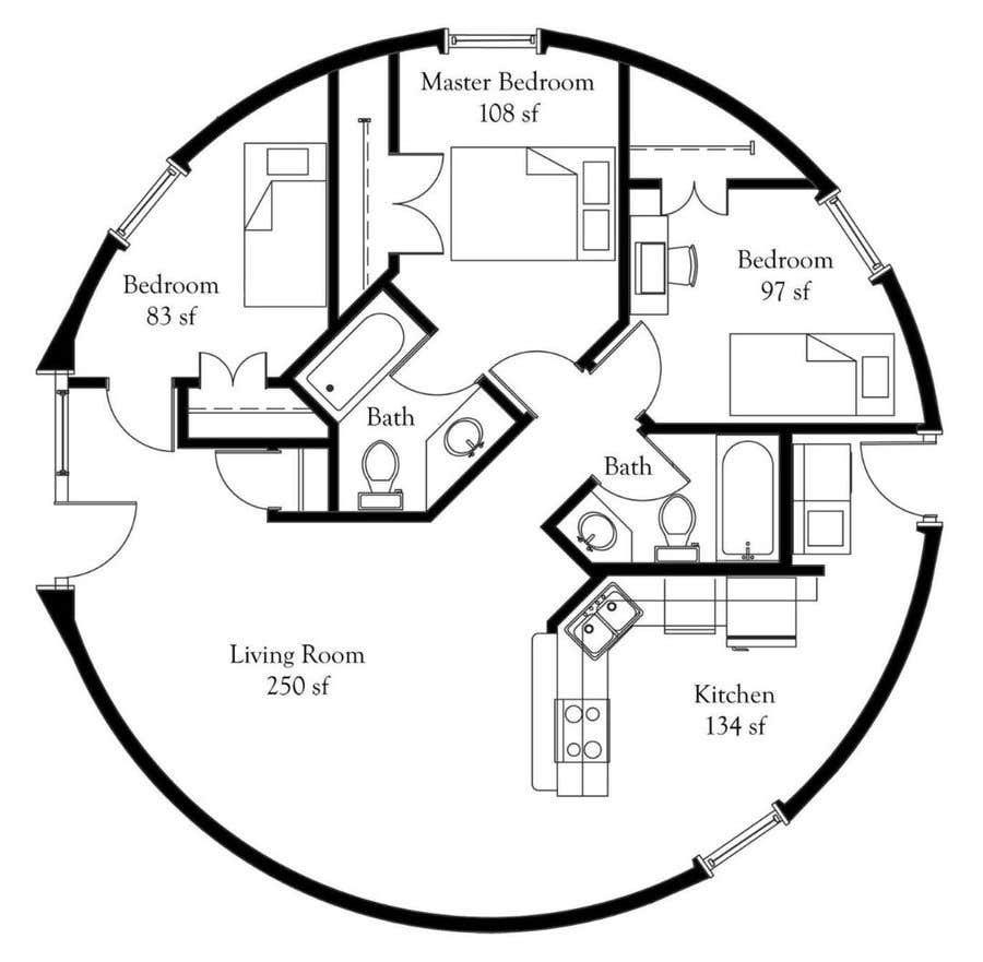 Wettbewerbs Eintrag #                                        8                                      für                                         Architect's Design for a 2-bedroom Round, Grass Thatched House