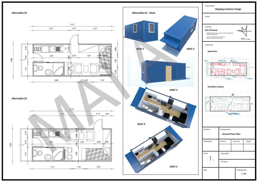 Bài tham dự cuộc thi #                                        5                                      cho                                         Shipping container conversion to site accommodation unit