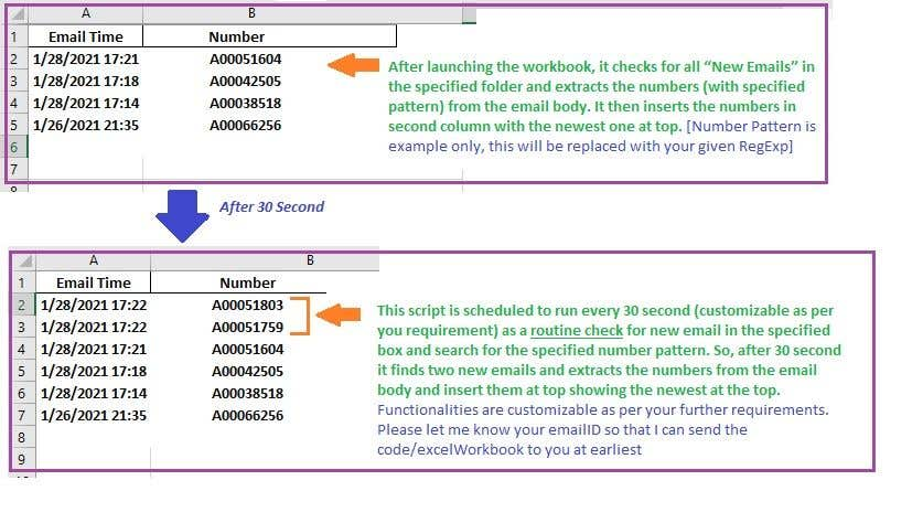 Inscrição nº                                         7                                      do Concurso para                                         Outlook/Excel routine to extract a regex from every email in a folder