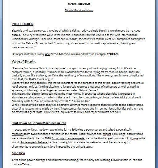 Proposition n°                                        26                                      du concours                                         Market Research BITCOIN